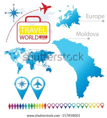 Moldova Map Europe Modern Globe Travel Stock Vector Royalty Free