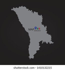 Moldova map, Moldova, vector map silhouette. gray on a white background. - Vector