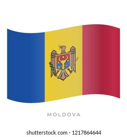 Moldova waving flag vector icon. National symbol of Moldova. Vector illustration isolated on white.