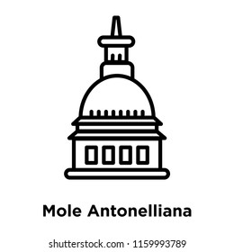 Mole Antonelliana in Turin icon vector isolated on white background, Mole Antonelliana in Turin transparent sign , line or linear sign, element design in outline style
