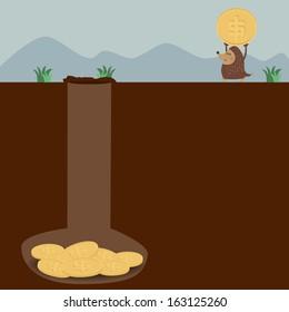 Mole keep dollar coin in his hole