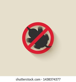 Mole silhouette. Animal pest icon stop sign