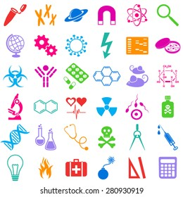 Molecular biology medicine and science colorful vector icons
