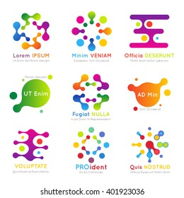 Molecular business color logo set. Abstract technology. Vector illustration