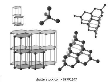 Molecular carbon in diamond and graphite.