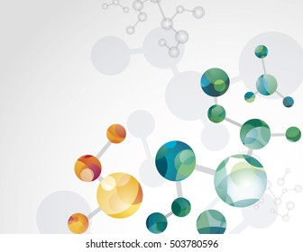 Molecular cell structure background with blue, cyan, orange, green and red. Chemical network connection vector backdrop