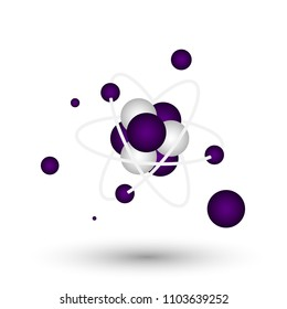 Molecular design separated from white background, atomic, 3D molecular structure, purple, vector illustration.