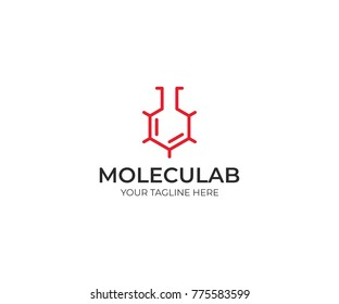 Molecular Lab Logo Template. Skeletal Molecular Structure Vector Design. Laboratory Flask Illustration