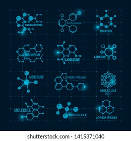 Molecular logo with shine effect. Chemistry dna molecule scientific structure atom icons vector set. Illustration of dna molecule, molecular atom research logo