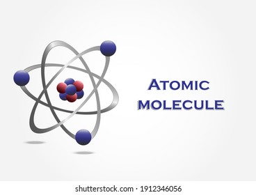 Molecular model of the atom Abstract molecular shapes reflect light and refract light separately on white background. Vector illustration