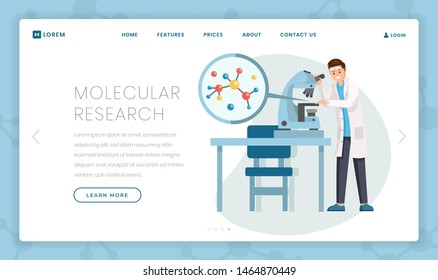 Molecular research flat landing page template. Cartoon scientist studying molecule structure in microscope. Hi-tech lab equipment for virology, bacteriology test programs promo webpage design