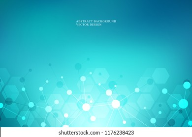 Molecular structure background and communication. Abstract background with molecule DNA and neural network. Artificial intelligence. Science and technology concept with connected lines and dots