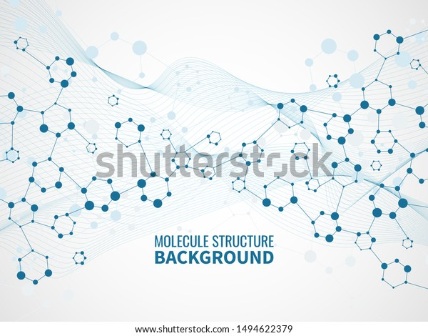 Molecular structure background. Pharmaceutical biochemistry, medical technology. Atom model and dna chain science vector abstract molecules futuristic scientific concept