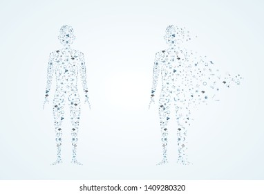 Molecular structure concept of human body DNA Illustration style