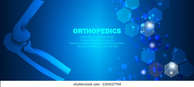 Molecular structure elbow bone background. Abstract traumatology and orthopedics with molecule DNA. Medical, science and technology, hospital for body joints, anatomy concept. Vector illustration