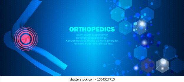 Molecular structure elbow bone pain background. Abstract traumatology and orthopedics with molecule DNA. Medical, science and technology, hospital for body joints, anatomy concept. Vector illustration