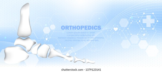 Molecular structure foot bone background. Abstract traumatology and orthopedics with molecule DNA. Medical, science and technology, hospital for body joints, anatomy concept. Vector illustration