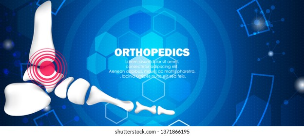 Molecular structure foot injury background. Abstract traumatology and orthopedics with molecule DNA. Medical, science and technology, hospital for body joints, anatomy concept. Vector illustration