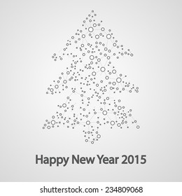 Molecular structure in the form of tree for the new year,  vector elegant illustration