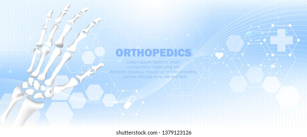Molecular structure hand bone background. Abstract traumatology and orthopedics with molecule DNA. Medical, science and technology, hospital for body joints, anatomy concept. Vector illustration