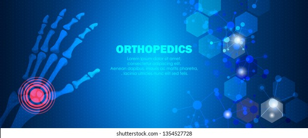 Molecular structure hand bone pain background. Abstract traumatology and orthopedics with molecule DNA. Medical, science and technology, hospital for body joints, anatomy concept. Vector illustration