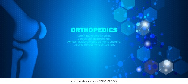 Molecular structure and knee bone background. Abstract traumatology and orthopedics with molecule DNA. Medical, science and technology, hospital for body joints, anatomy concept. Vector illustration
