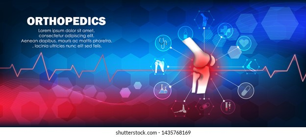 Molecular structure knee injury  pain background. Abstract traumatology and orthopedics with the molecule Hexagon, science, and technology, the hospital for body joints, anatomy. Vector illustration