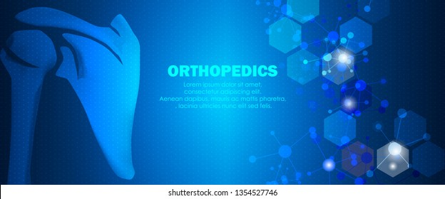 Molecular structure shoulder bone background. Abstract traumatology and orthopedics with molecule DNA. Medical, science and technology, hospital for body joints, anatomy concept. Vector illustration