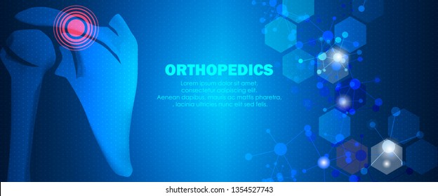 Molecular structure shoulder pain background. Abstract traumatology and orthopedics with molecule DNA. Medical, science and technology, hospital for body joints, anatomy concept. Vector illustration