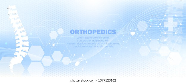 Molecular structure spine bone background. Abstract traumatology and orthopedics with molecule DNA. Medical, science and technology, hospital for body joints, anatomy concept. Vector illustration