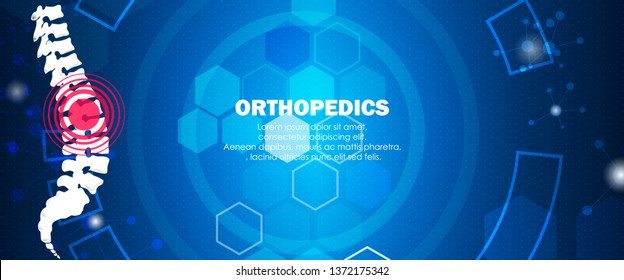 Molecular structure spine bone pain background. Abstract traumatology and orthopedics with molecule DNA. Medical, science and technology, hospital for body joints, anatomy concept. Vector illustration