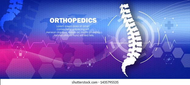 Molecular structure whole spine bone background. Abstract traumatology and orthopedics with the molecule Hexagon, science, and technology, the hospital for body joints, anatomy. Vector illustration