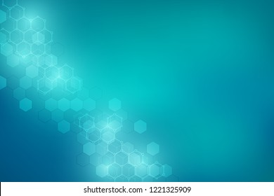 Molecular structures and hexagons elements. Abstract geometric background with molecules and communication. Vector hexagons pattern for medical or scientific and technological design