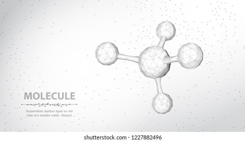 Molecule. Abstract futuristic wireframe 3d micro molecule structure with sphere. Science, research, chemistry, biotechnology, medical concept illustration or background