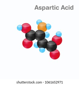 Molecule of Aspartic acid, Asp, an amino acid used in the biosynthesis of proteins