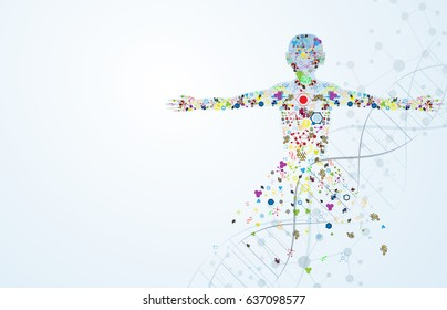 Molecule body concept of the human DNA Eps10