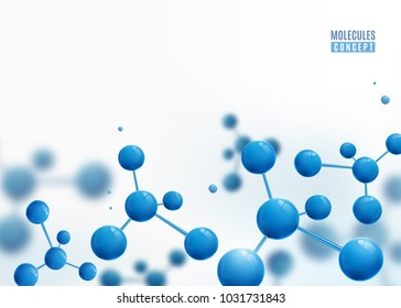 Molecule border design background. Atoms. 3d molecular structure with blue connected spherical particles. Chemical medical motion concept for banner, poster or flyer. Vector illustration