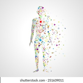 Molecule concept of the human body Abstract model of man of DNA molecule. Eps10