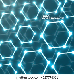 Molecule DNA glowing. Abstract background. Vector illustration. Eps10