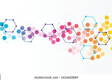 Molecule geometric abstract with hexagons. Science, technology and medical concept. Pattern texture molecule. Vector illustration