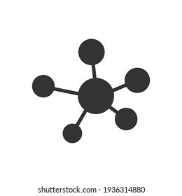 Molecule icon. DNA silhouette symbol. Atom connection concept. Vector isolated on white