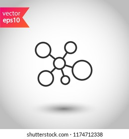 Molecule icon. DNA vector icon. Laboratory molecule sign. Nano DNA line icon. EPS 10 flat symbol