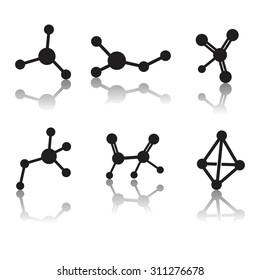 Molecule icon vector set with reflection