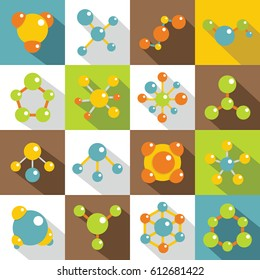 Molecule icons set. Flat illustration of 16 molecule vector icons for web