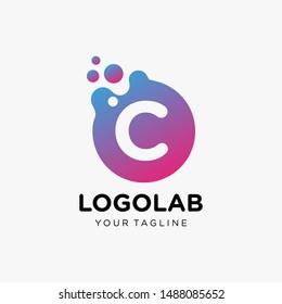 molecule initial Letter C Logo design , Lab Logo Design Element , Design Vector with Dots. - VECTOR