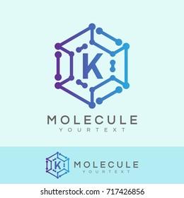 molecule initial Letter K Logo design