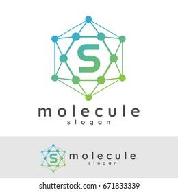molecule initial Letter S Logo design