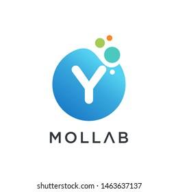 molecule initial Letter Y Logo design , Lab Logo Design Element , Design Vector with Dots. - VECTOR