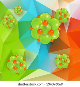 Molecule on triangle background