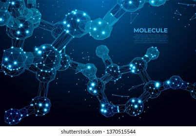 Molecule. Scientific molecule background for  science, technology, chemistry.  DNA digital, code structure. Science concept, nano technology. Polygon vector wireframe concept.